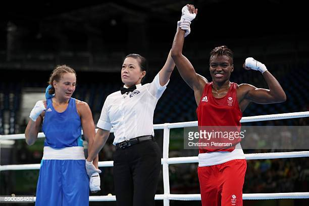 Nicola Adams of Great Britain celebrates beating Tetyana Kob of Ukraine after the Boxing Women's Fly Quarterfinal on Day 11 of the Rio 2016 Olympic...