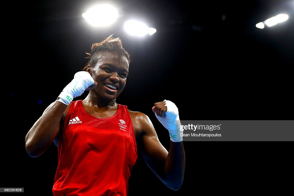 Nicola Adams of Great Britain celebrates winning the gold during the Women's Fly (48-51kg) Final Bout against Sarah Ourahmoune of France on Day 15 of the Rio 2016 Olympic Games at Riocentro - Pavilion 6 on August 20, 2016 in Rio de Janeiro, Brazil.