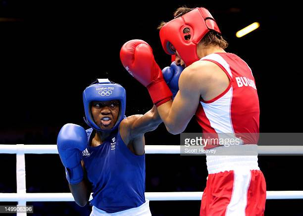 Nicola Adams of Great Britain competes against Stoyka Petrova of Bulgaria during the Women's Fly Boxing Quarterfinals on Day 10 of the London 2012...