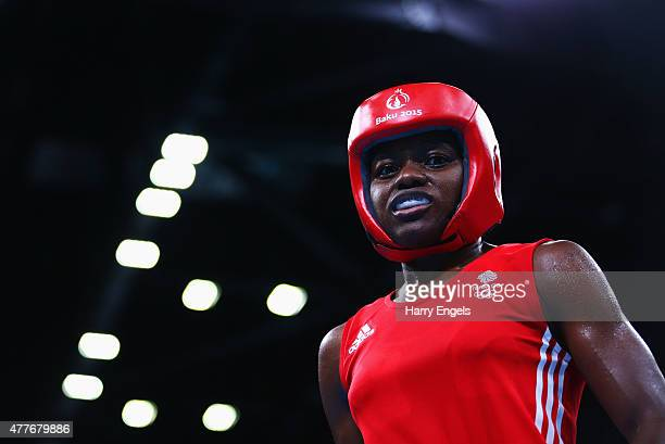 Nicola Adams of Great Britain looks on in the Women's Boxing Fly weight 4851kg round of 16 bout during day seven of the Baku 2015 European Games at...