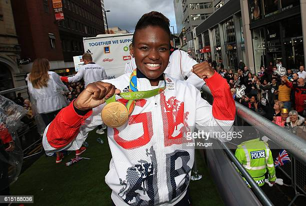 Nicola Adams poses with her gold medal during the Olympics Paralympics Team GB Rio 2016 Victory Parade on October 17 2016 in Manchester England