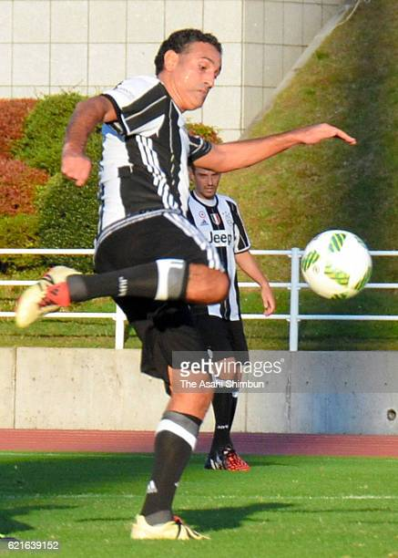 Nicola Amoruso of Juventus Legend scores a goal during the 2016 Juventus Legend Charity Match at Shota Shoyu Stadium Gunma on November 5 2016 in...