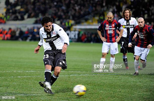 Nicola Amoruso of Parma FC scores during the Serie A match between Parma and Bologna at Stadio Ennio Tardini on December 13 2009 in Parma Italy