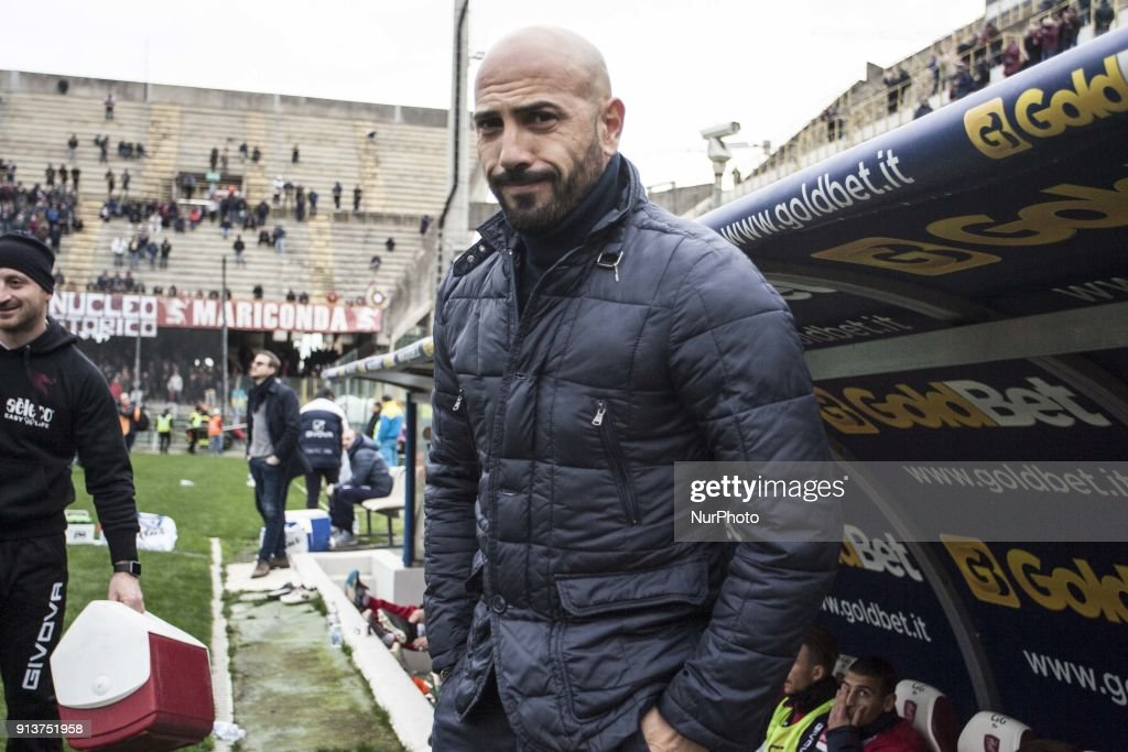 Nicola Antonio Calabro (Coach by FC Carpi) during Italy Serie B match between US Salernitana and Carpi FC at Stadium Arechi in Salerno, Italy, on 2 February 2018.