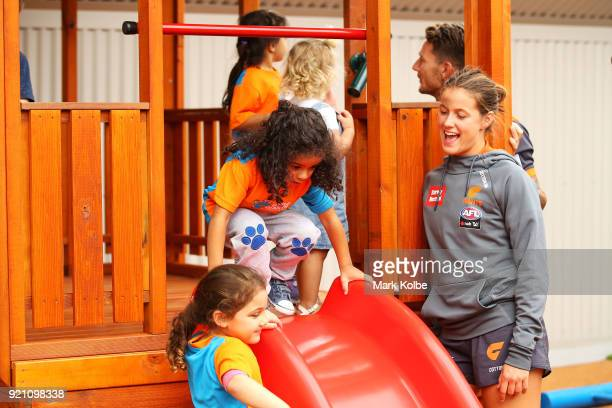Nicola Barr interacts with children during a Greater Western Sydney Giants AFL media opportunity to launch their ÔLittle GIANTSÔ early education...
