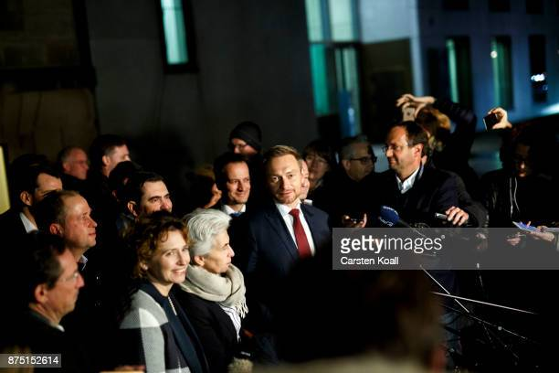Nicola Beer of the Free Democratic Party and Christian Lindner head of the Free Democratic Party speak to the media after the last day of preliminary...