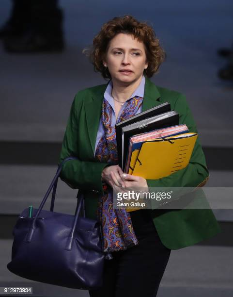 Nicola Beer of the German Free Democratic Party attends debates at the Bundestag over a proposal concerning the rights of refugees who have been...