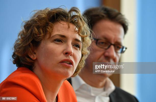 Nicola Beer, secretary general of Germany's free democratic FDP party, and Stefan Birkner, FDP top candidate for regional elections in Lower Saxony,...