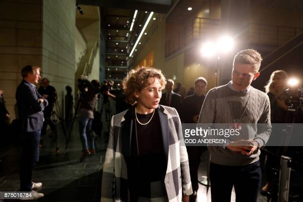 Nicola Beer secretary general of the free democratic FDP party is surrounded by journalists as she walks during further exploratory talks with...