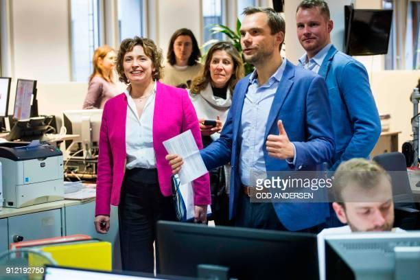Nicola Beer SecretaryGeneral of the Free Democratic Party is seen during a visit to the global news agency AFP's news room in Berlin on January 30...