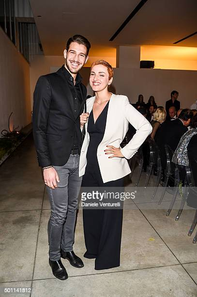 Nicola Brindisi and Arisa attend Lampoon First Birthday Event on December 12 2015 in Milan Italy
