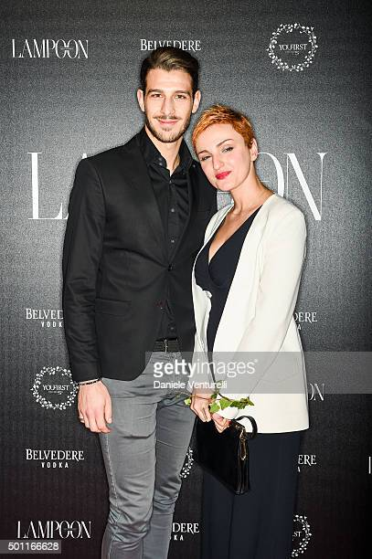 Nicola Brindisi and Arisa attends Lampoon First Birthday Event on December 12 2015 in Milan Italy