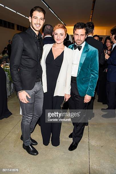 Nicola Brindisi Arisa and Carlo Mazzoni attend Lampoon First Birthday Event on December 12 2015 in Milan Italy