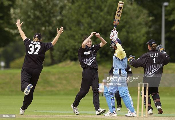 Nicola Browne of New Zealand celebrates taking the wicket of Anjum Chopra of India during the New Zealand Womens v Indian Womens One Day...