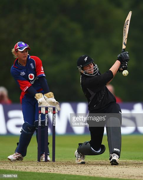 Nicola Browne of New Zealand in action during the sixth Natwest series one day international match between England and New Zealand at Shenley Park on...