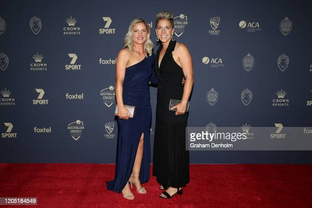 Nicola Carey and Elyse Villani arrive ahead of the 2020 Cricket Australia Awards at Crown Palladium on February 10 2020 in Melbourne Australia