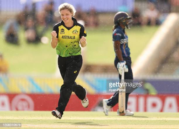 Nicola Carey of Australia celebrates after taking the wicket of Chamari Athapaththu of Sri Lanka during the ICC Women's T20 Cricket World Cup match...