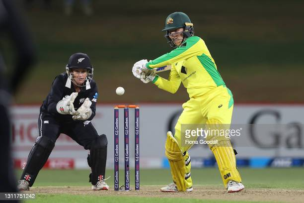 Nicola Carey of Australia hits the ball during game three of the One Day International series between the New Zealand White Ferns and Australia at...