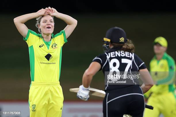 Nicola Carey of Australia reacts during game three of the One Day International series between the New Zealand White Ferns and Australia at Bay Oval...