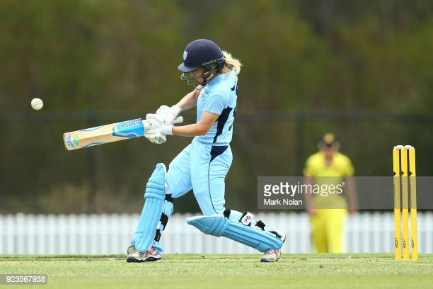 Nicola Carey of NSW bats during the WNCL Final match between New South Wales and Western Australia at Blacktown International Sportspark on February...