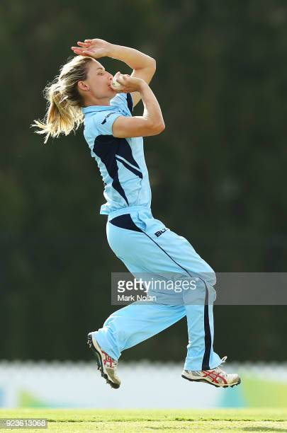 Nicola Carey of NSW bowls during the WNCL Final match between New South Wales and Western Australia at Blacktown International Sportspark on February...