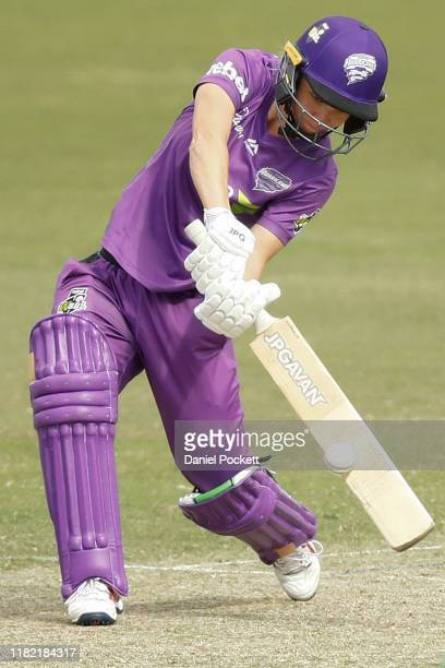 Nicola Carey of the Hurricanes bats during the Women's Big Bash League match between the Melbourne Stars and the Hobart Hurricanes at CitiPower...