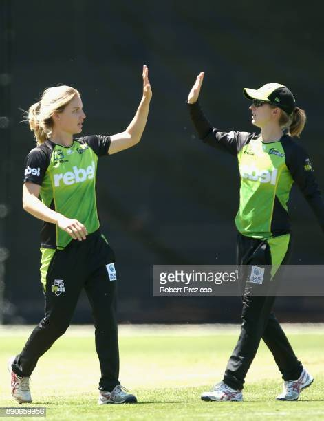 Nicola Carey of the Sydney Thunder celebrates the wicket of Mignon du Preez of the Melbourne Stars during the Women's Big Bash League match between...
