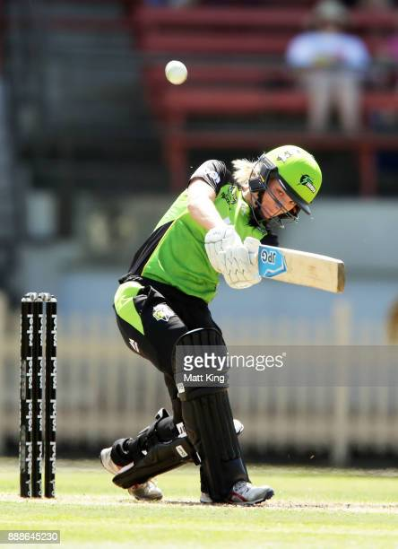 Nicola Carey of the Thunder bats during the Women's Big Bash League WBBL match between the Melbourne Renegades and the Sydney Thunder at North Sydney...