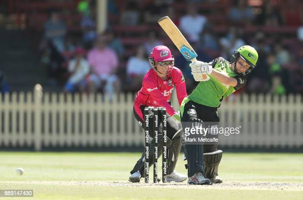 Nicola Carey of the Thunder bats during the Women's Big Bash League WBBL match between the Sydney Thunder and the Sydney Sixers at North Sydney Oval...