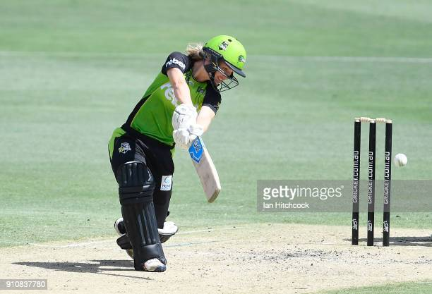 Nicola Carey of the Thunder bats during the Women's Big Bash League match between the Brisbane Heat and the Sydney Thunder at The Gabba on January 27...