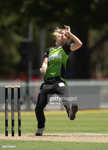Nicola Carey of the Thunder bowls during the Women's Big Bash League match between the Melbourne Stars and the Sydney Thunder at Horwall Oval on...