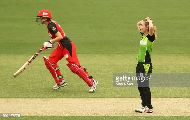 Nicola Carey of the Thunder reacts after a delivery during the Women's Big Bash League match between the Sydney Thunder and the Melbourne Renegades...
