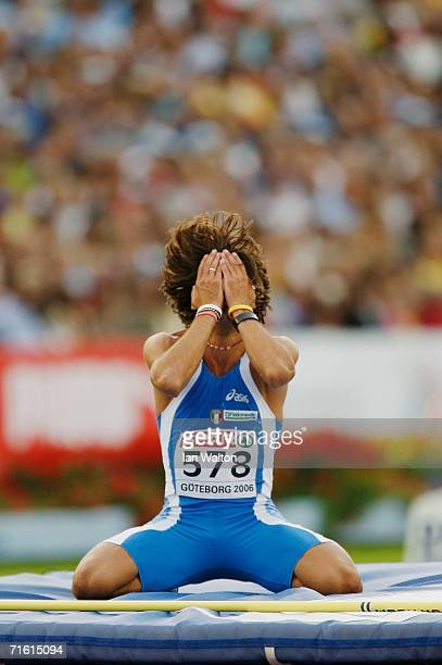 Nicola Ciotti of Italy shows his frustration during the Men's High Jump Final on day three of the 19th European Athletics Championships at the Ullevi...