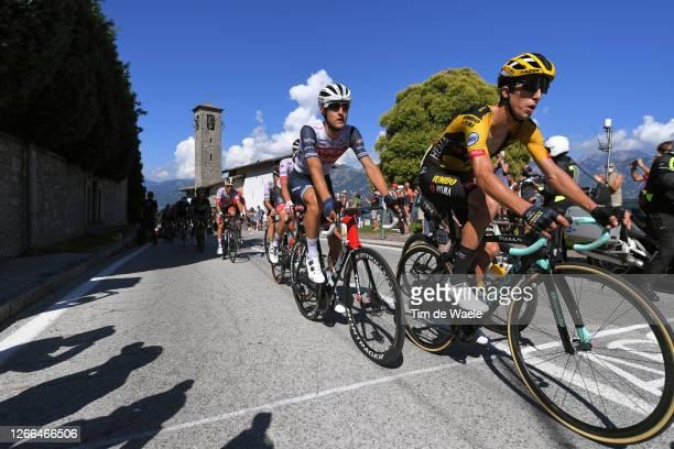 Nicola Conci of Italy and Team Trek - Segafredo / George Bennett of New Zealand and Team Jumbo - Visma / Madonna del Ghisallo / Church / during the...