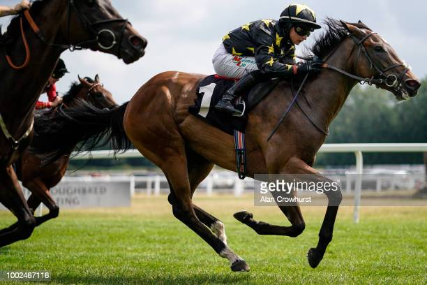Jonathan Fisher rides Champagne Bob to win The Oakley Coachfilders apprentice handicap stakes at Newbury Racecourse on July 20 2018 in Newbury United...