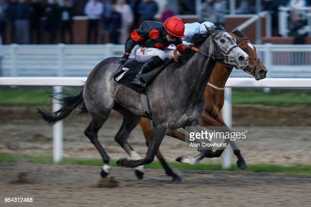 Nicola Currie riding Gold Filigree win The toteswinger Two In The First Three Fillies' Handicap at Chelmsford City racecourse on May 3 2018 in...