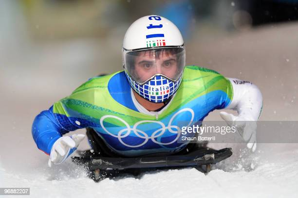 Nicola Drocco of Italy competes in the men's skeleton third heat on day 8 of the 2010 Vancouver Winter Olympics at the Whistler Sliding Centre on...