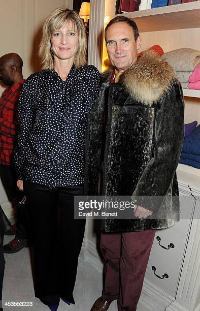 Nicola Formby and AA Gill attend the launch of the Eggert Feldskeri collection hosted by AA Gill at Anderson Sheppard on December 4 2013 in London...