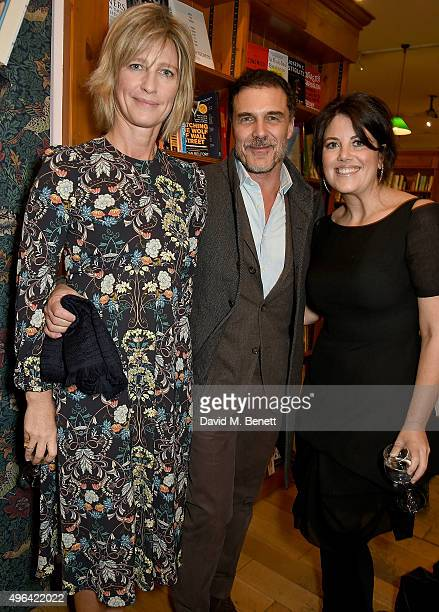 """Nicola Formby, Andre Balazs and Monica Lewinsky attend the launch of A.A. Gill's new book """"Pour Me: A Life"""" at Daunt Books on November 9, 2015 in..."""