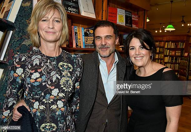 Nicola Formby Andre Balazs and Monica Lewinsky attend the launch of AA Gill's new book Pour Me A Life at Daunt Books on November 9 2015 in London...