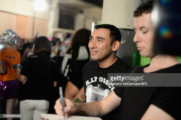 Nicola Formichetti backstage ahead of the Nicopanda show during London Fashion Week September 2018 on September 14, 2018 in London, England.