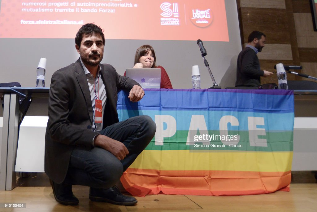 Nicola Fratoianni, Secretary of Sinistra Italiana, during the party assembly with the rainbow behind him, symbol of Peace against the attack in Syria, on April 14, 2018 in Rome, Italy.
