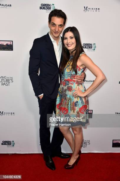 Nicola Geretti and actress Celeste Thorson attends Vision Films' 'Living In The Future's Past' at Ahrya Fine Arts Theater on October 2 2018 in...