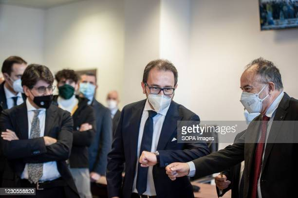 Nicola Gratteri , anti-mafia prosecutor, seen greeting Alfonso Bonafede , Minister of Justice during the site inspection. Italian Minister of Justice...