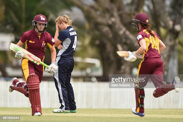 Nicola Hancock of the Spirit looks dejected during the round one WNCL match between Queensland and Victoria at Allan Border Field on October 9 2015...
