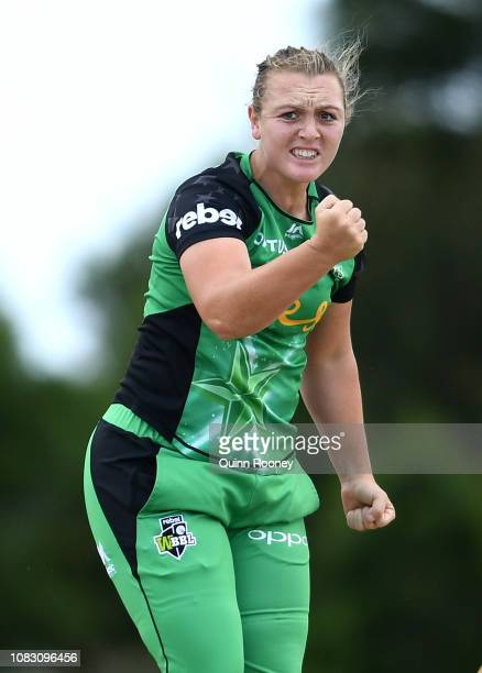 Nicola Hancock of the Stars celebrates getting a wicket during the Women's Big Bash League match between the Melbourne Stars and the Perth Scorchers...