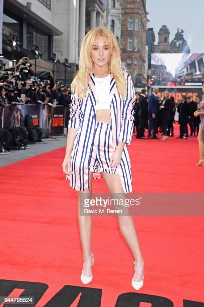 Nicola Hughes attends the European Premiere of Rampage at Cineworld Leicester Square on April 11 2018 in London England
