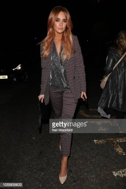 Nicola Hughes seen attending Julian Macdonald during London Fashion Week September 2018 on September 15, 2018 in London, England.