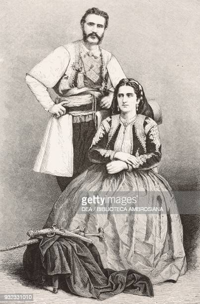 Nicola I and Milena Vukotic prince and princess of Montenegro engraving from L'Illustrazione Italiana No 29 July 22 1877