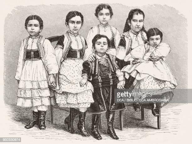 Nicola I and Milena Vukotic's children prince and princess of Montenegro engraving from L'Illustrazione Italiana No 29 July 22 1877